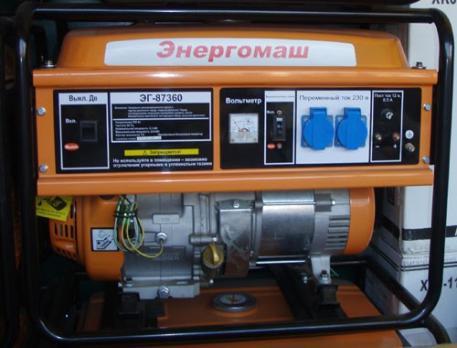 Бензиновый генератор Энергомаш ЭГ 87360 цена 9350 руб Москва
